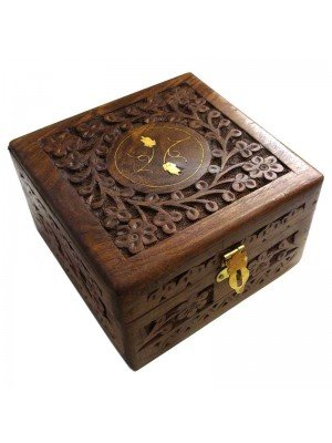 Wholesale Carved Wooden Box- Flowers Brass Inlay 14x14x9cm