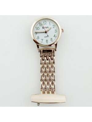 BOXX Fashion Fob Watch - Rose Gold & White