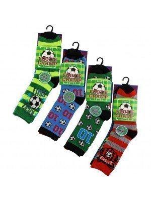Wholesale Boy's Football Champ Design Socks (3 Pair Pack) - Asst. (UK - 6-8)