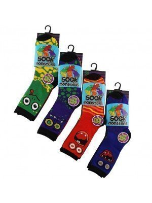 Wholesale Boy's Monster Design Socks (3 Pair Pack) - Asst. (UK - 3-5)