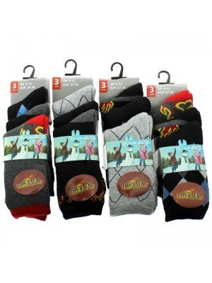 Boy's Winter Thermal Socks  - Assorted Colours & Design (UK 9-12)