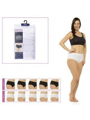Ladies 5 Pack Anucci Full Briefs- Assorted Colours & Sizes