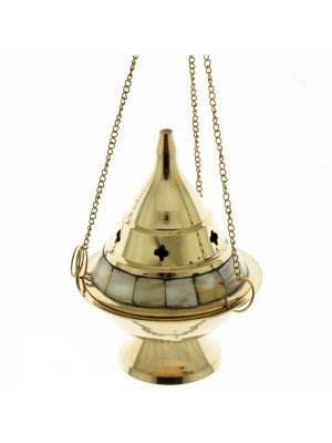 Wholesale Brass Burner With Chain & Pearl Design-13 cm
