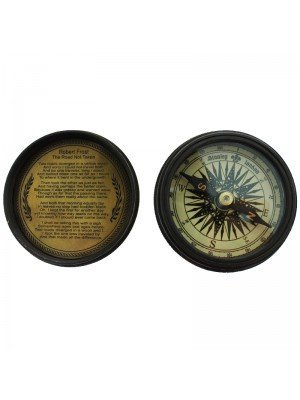 Brass Pocket Compass with Robert Frost Poem on the Lid 6.5 cm