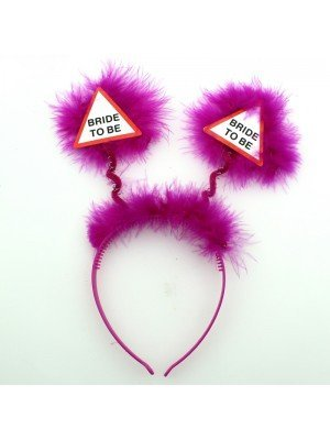 'Bride to Be' Head Bopper with Feathers - Fuchsia