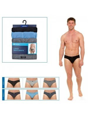 Mens Tom Franks 3 Pack Briefs With Ribbed Sides -Assorted Colours & Sizes