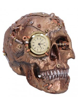 Bronze Scrapped Skull Steampunk Scrap Skeleton Figurine - 19cm