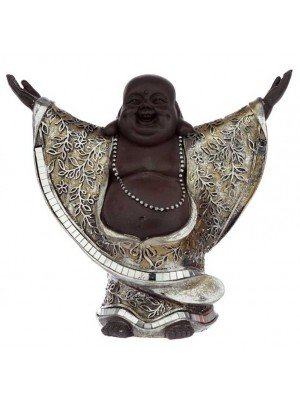 Wholesale Brown and Silver Chinese Laughing Buddha with Hands Up-22.5cm