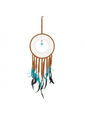 Brown Dreamcatcher With Turquoise Feathers - 75cm