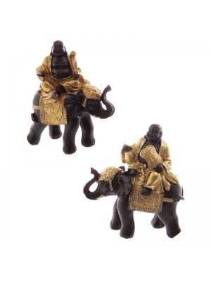 Gold & Brown Laughing Fat Buddha Riding Elephant - Assorted Designs
