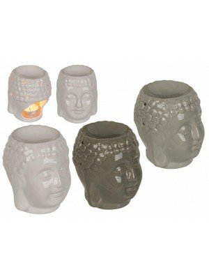 Wholesale Buddha Design Shiny Ceramic Oil Burner (11 x 9cm) - Assorted