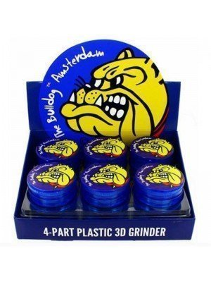 Wholesale 4-part Plastic Grinder The Bulldog - Blue