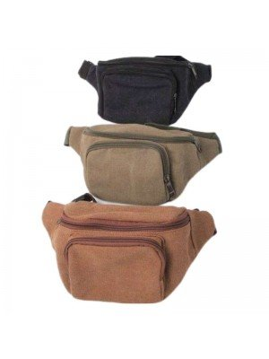 Canvas Fabric Bum Bag - Assorted Colours