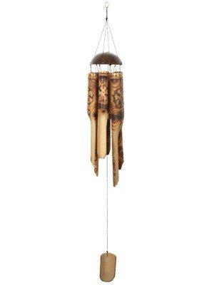 Burnt Flower Pattern Bamboo Windchime - 105cm