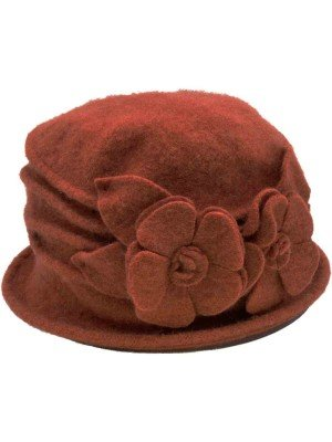 Wholesale Womens Wool Vintage Cloche Hat - Burnt Orange