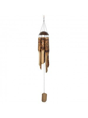 Burnt Flower Pattern Bamboo Wind Chime - 105cm