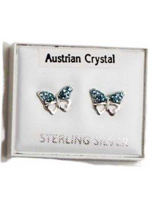 Wholesale Sterling Silver Austrian Crystal Butterfly Studs 8 mm - Sky Blue