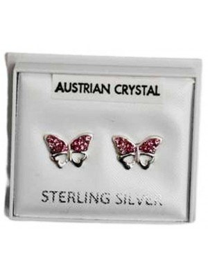 Wholesale Sterling Silver Austrian Crystal Butterfly Studs 8 mm - Pink