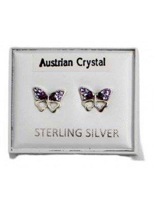 Wholesale Sterling Silver Austrian Crystal Butterfly Studs 8 mm - Purple