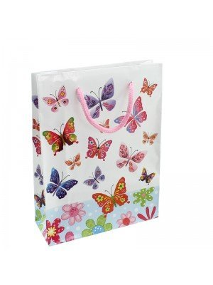 Butterfly Print White Gift Bag - 15 x 20 x 6cm