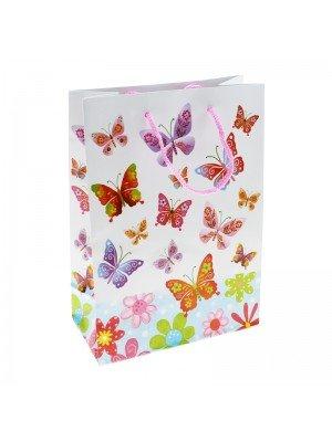 Butterfly Print White Gift Bags - H20cm x W15cm x D6cm