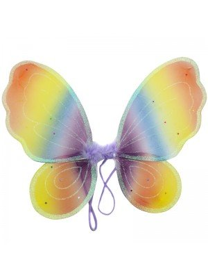 Butterfly Rainbow Themed Glitter Wings - 40cm