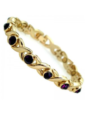 Wholesale Magnetic Bracelet With 10 Magnets - Purple Stones