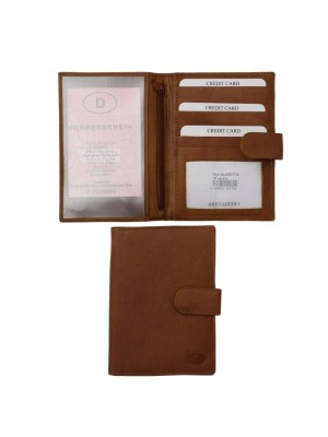 Men's Leather Passport Holder with 5 Card Slots - Tan