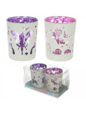 Wholesale Fairy Garden Set of 2 Glass Tea Light or Votive Holders
