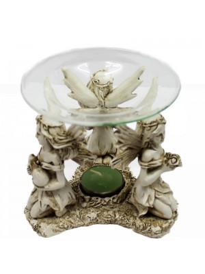 Candle Holder/ Oil Burner- Sitting Forest Fairies