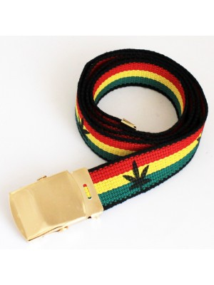 Men's Canvas Belt - Cannabis Leaf (Gold Buckle)