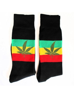 Wholesale Leaf Print Design Socks - Black