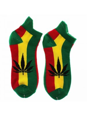Cannabis Leaf Print Trainer Socks