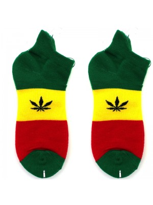 Leaf Print Trainer Socks - Rasta Colours
