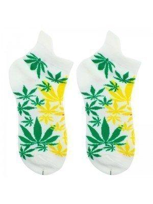 Cannabis Leaf in Rasta Colours Trainer Socks - White