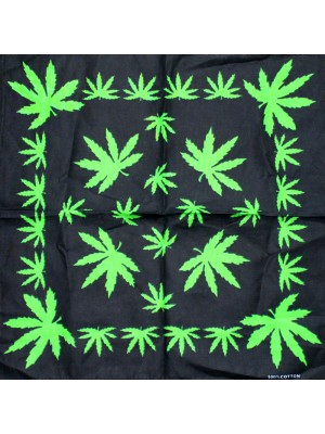 Cannabis Leaf Print Bandana - Green