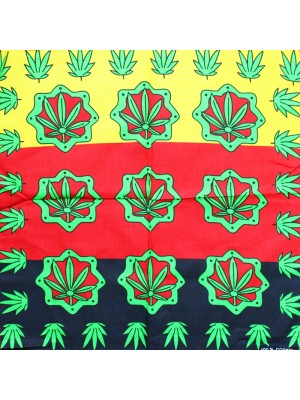 Cannabis Leaf Print Bandanas - Rasta Colours
