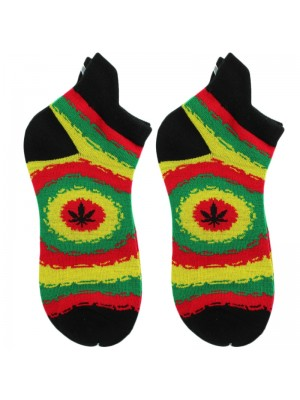 Wholesale Leaf Print Rasta Colours Trainer Socks