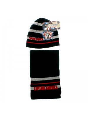 Captain America Design Hat and Scarf Set - Assorted Colours & Sizes