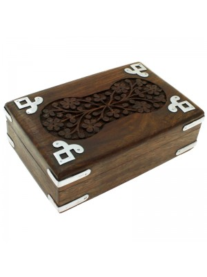 Wholesale Carved Flower Wooden Box with Iron Corners