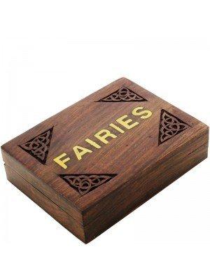 Carved Wooden Box - Fairies Brass Inlay 16x12x4.5cm