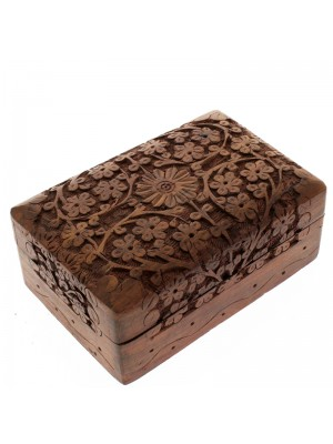 Carved Wooden Box- Flowers Design 15.5x10x6cm