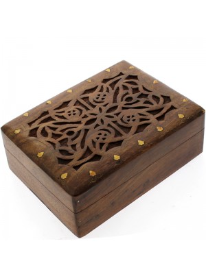 Carved Wooden Box- Leaves Brass Inlay 22.5x17x8cm