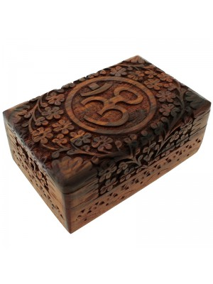 Wholesale Carved Wooden Box with Flower and Om Symbol Design