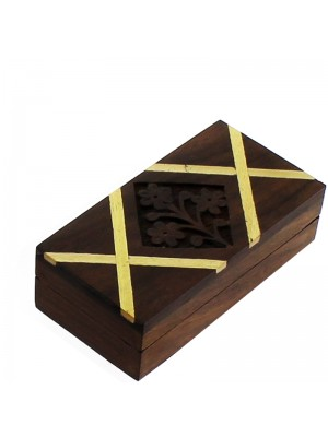 Carved Wooden Pill Boxes - Assorted Designs 7.5x5.5x3.5cm
