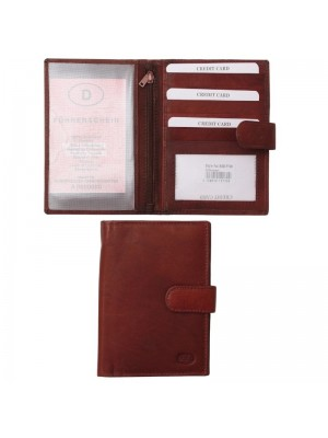 Wholesale Men's Leather Passport Holder with 5 Card Slots - Red/Brown