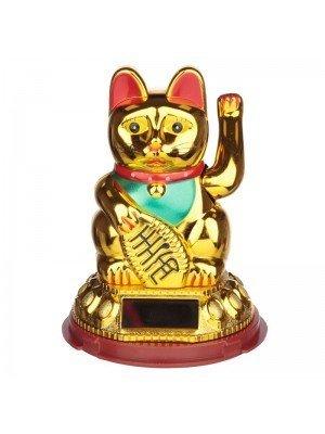 Wholesale Maneki Neko Golden Lucky Waving Cat Solar Pal