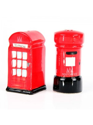 Ceramic Salt & Pepper Set-  London Post & Telephone Box