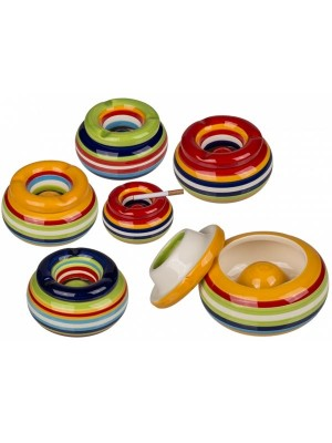 Wholesale Ceramic Storm Ashtray Stripes Design - 4 Assorted Colours