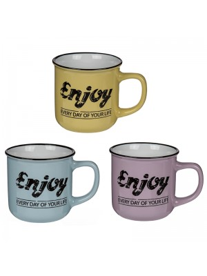 "Ceramic ""Enjoy Everyday of Your Life"" Mugs - Assorted Colours"